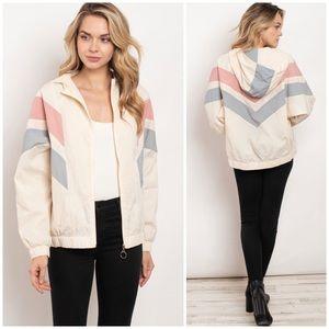 ❄️Ivory Color Block Hoodie Jacket
